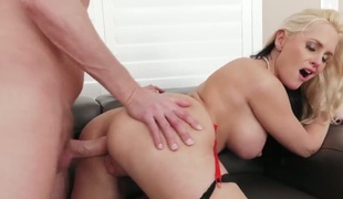 Alena Croft with juicy boobs and hot dude Mark Wood are horny for each other in anal action before she takes it deep in her mouth