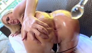 Mick Blue puts his ram jock in sinfully sexy Alena Crofts throat previous to she gets cornholded