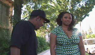 Black BBW out for a walk meets a dude and ends up fucking him