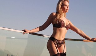 anal blonde hardcore pornostjerne lingerie strømper fingring fitte BH par