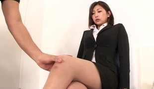 Aggressive fucking of a Japanese girl in pantyhose and a petticoat