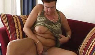 Aged dilettante granny playing with her old soaked hairy vagina