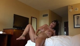 Playgirl in a hotel room taking his big dick hardcore