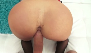 Mick Blue makes Well-stacked hussy Kat Dior with juicy hooters suck his thick meat stick non-stop after that babe receives fucked into ass
