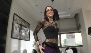 Flirty brunette hair Lyen Parker clothed in black reveals her natural milk sacks and flaunts her perfect ass. Chick with glasses shows her assets right in front of the cam. That babe is super sexy