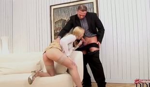 Blonde Misty Mild satisfies mans sexual needs and then receives covered in cum