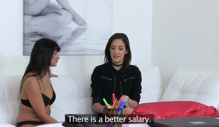 Female Agent Sexy lesbo sofa sex orgasms with strap on
