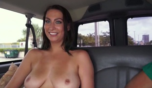 Tiffany Cane flaunts her ideal milk sacks on Gangbang Bus