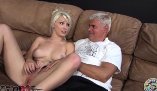 Stunning blonde with a heavenly gazoo Stevie Shae worships a long stick