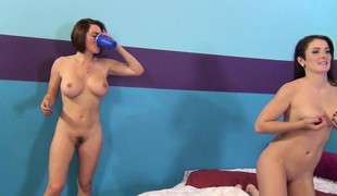 Krissy Lynn and Eden Youthful in a sexy threesome and smoking on a break