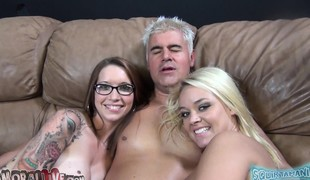 Callie Nicole and Alexis Monroe tag team each other and a fortunate dick