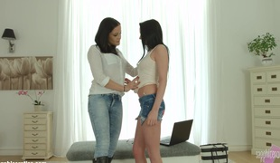 Welcome Distraction by Sapphic Erotica   lesbo love porn with Barbara Bella   Dolly Diore
