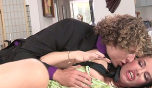 Slaver MILF Dana DeArmond makes this young chap go down on her