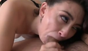 Gorgeous raven haired sex doll in hot stockings Mandy Muse sucks hard 10-Pounder of her man greedily