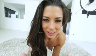 Horny brunette Alexa Tomas shows her snatch and gives great blowjob on a pov camera
