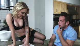 Sexually charged slut Morgan Lee seduces her man and gets drilled on the couch
