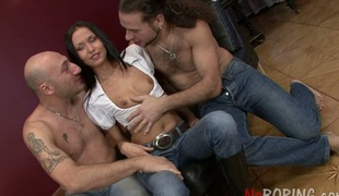 Two raging studs fuck all holes of Vanessa