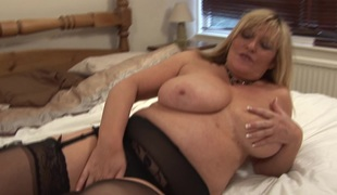 Chubby MILF with big tits Alisha can't live without fingering her wet love tunnel