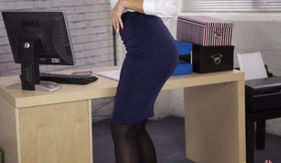 Astonishing lady boss stripping seductively in the office