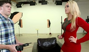 Blonde bombshell in red Alexis Monroe fucked bad in a doggy position