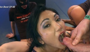 Oriental cum guzzling slut screwed