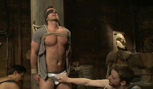 Hairy Muscle Hunk Has His Cock Edged By 2 Farmers
