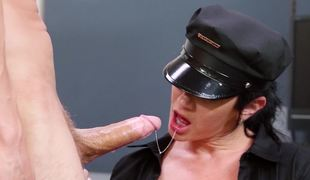 A sexy security guard chick is getting fucked hard in the office