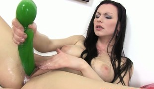 Breasty juicy cherry sweetheart plays with toys