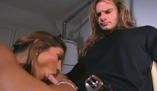 Skinny golden-haired delivers a sensual rimjob and then indulges in anal sex