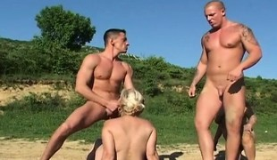 Naughty blonde grannies having sex with a couple of youthful dudes outside