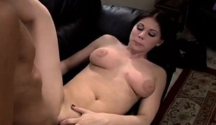 Hot slender brunette hair with big tits Kylie hangs on for a hard pounding