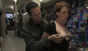 Hot redhead receives publicly fucked and caressed in a hardware store