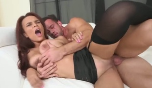 Redhead latin Johnny asks her fuck buddy to shove his stiff boner in her mouth