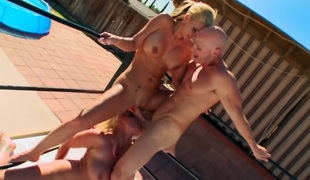 Phoenix Marie Sadie Swede gets am anal fuck with hot group sex buddy Johnny Sins after that babe gives headjob