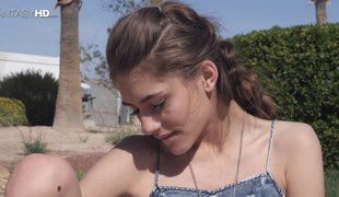 Ideal skinny gal outdoors having beautiful hardcore sex