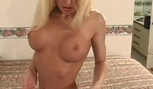 Blonde babe with nice milk shakes jilling off and fake penis fucking