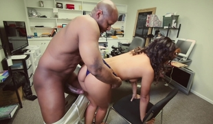 Black girl taking broad in the beam black cock, at the office