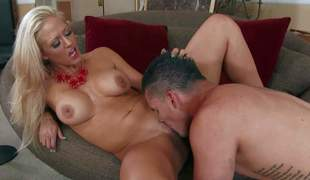 Holly Heart is his allies sinfully sexy milf mom. Big tits, taut smooth cum-hole and great raunchy experience make make her a perfect sex partner for unpredictable intensify younger guys like Clover. They have a spot on target tine banging