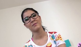 Nerdy hotty goes absolutely wild and lets the fat guy drill her depths