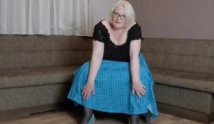 My full blue spotted swing skirt