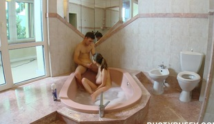 Breasty legal age teenager can`t live without baths sex