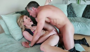 Brunette Lily LaBeau gets hardcored by hot group-sex buddy Mick Blue